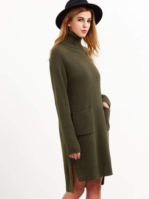 8e3f13f0d4 Cheap Olive Green Turtleneck Pocket Front High Low Slit Sweater Dress for  sale Australia