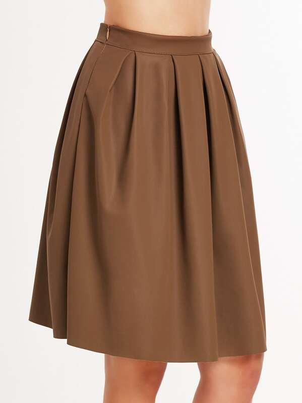 e0d961f3cd0e31 Cheap Khaki Faux Leather Pleated Skirt for sale Australia   SHEIN