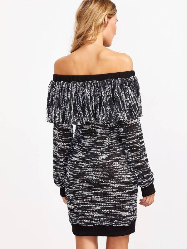 Black Marled Knit Ruffle Off The Shoulder Sweater Dress Shein
