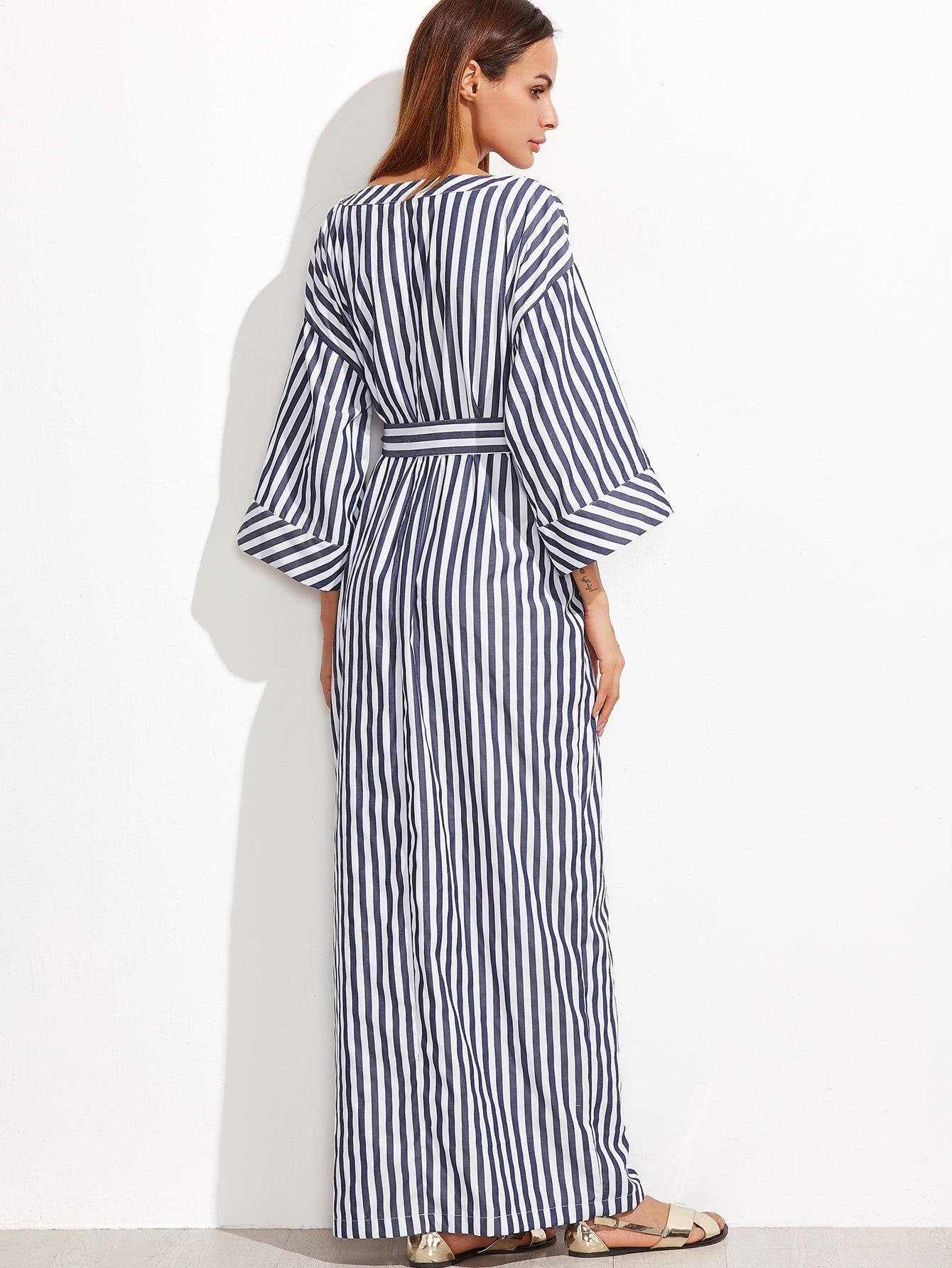 Navy And White Striped Self Belt Roll Cuff Maxi Dress