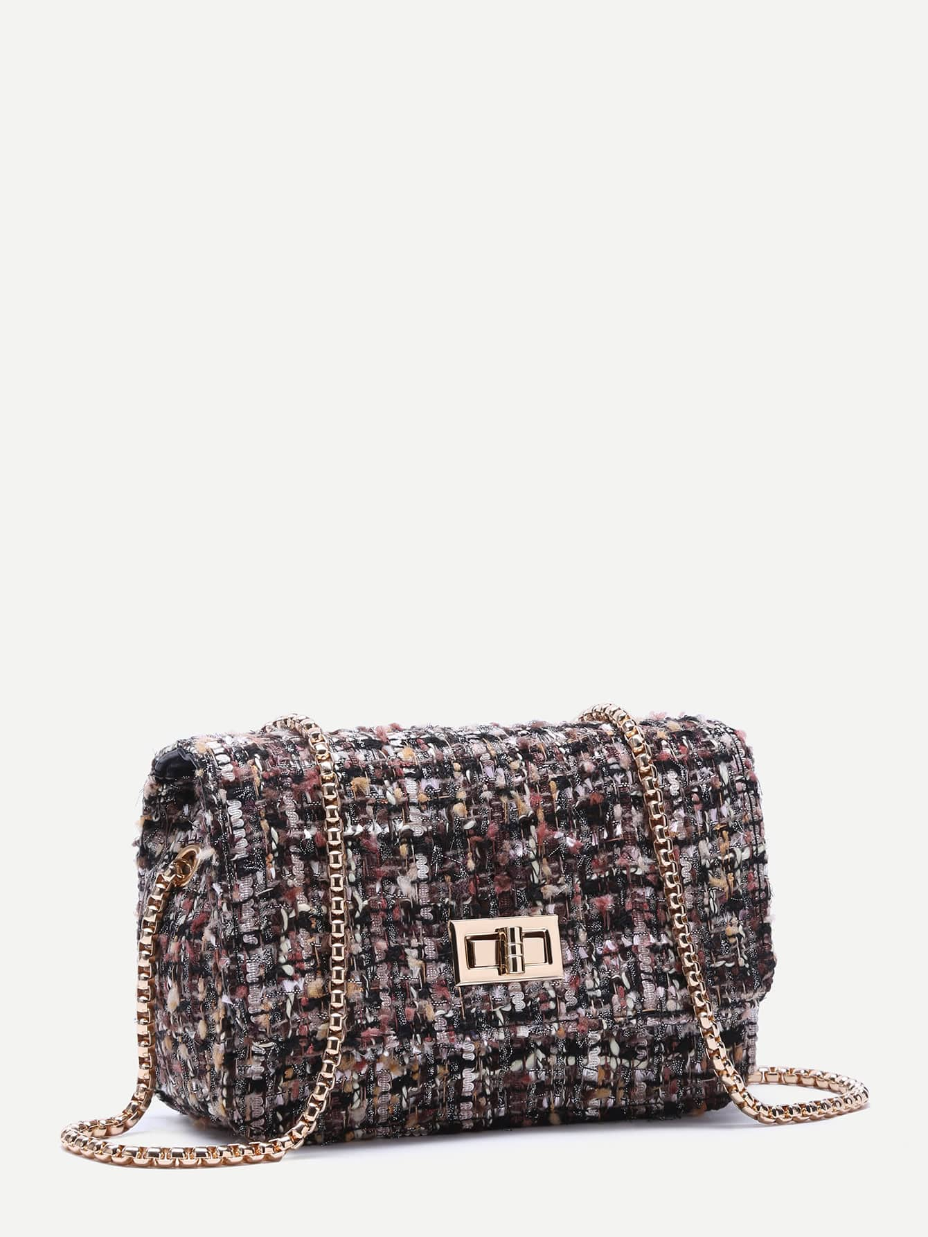 Multicolor Woolen Box Bag With Chain Strap