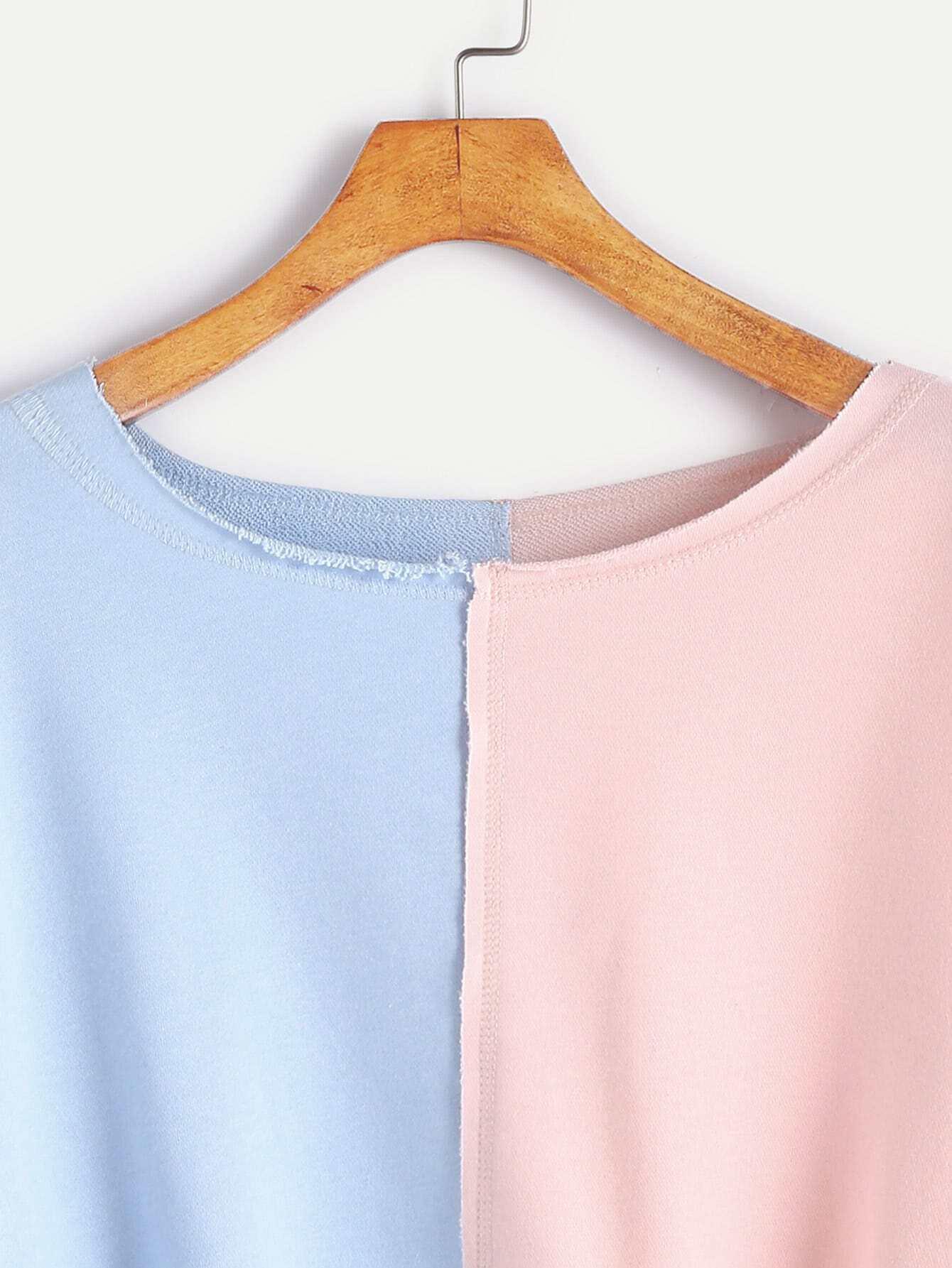 Contrast Raw Edge Crop Sweatshirt