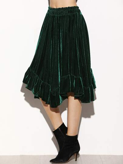 Dark Green Asymmetric Ruffle Hem Velvet Skirt