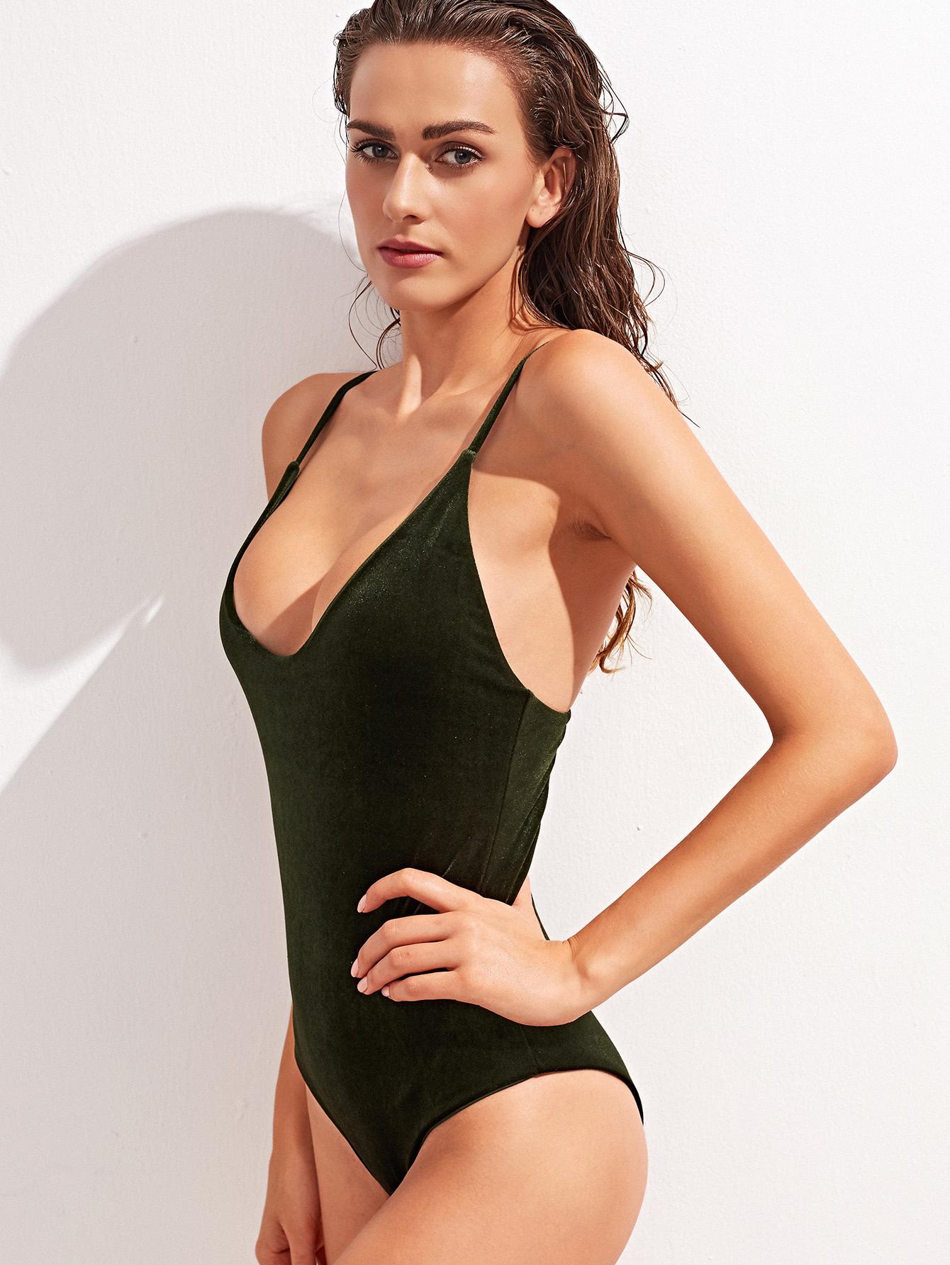 Dark Green Cross Back One-Piece Velvet Swimwear