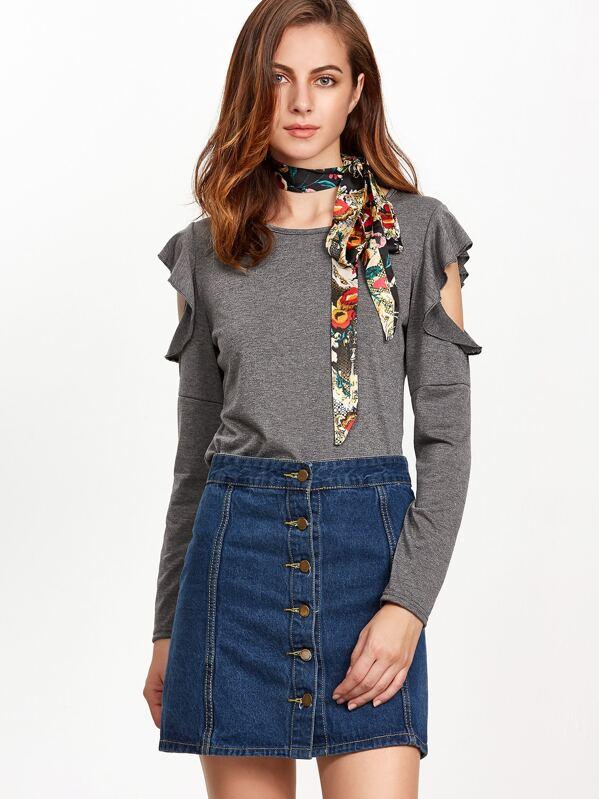 45a760b624b49d Heather Grey Open Shoulder Ruffle Trim T-shirt -SHEIN(SHEINSIDE)