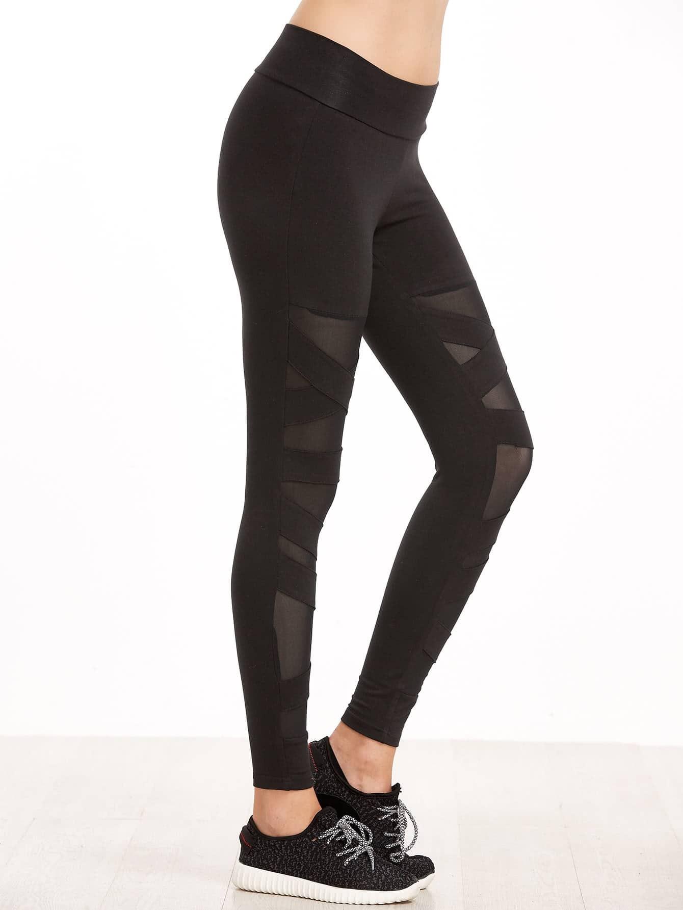 Black Crisscross Mesh Panel Leggings -SheIn(Sheinside)