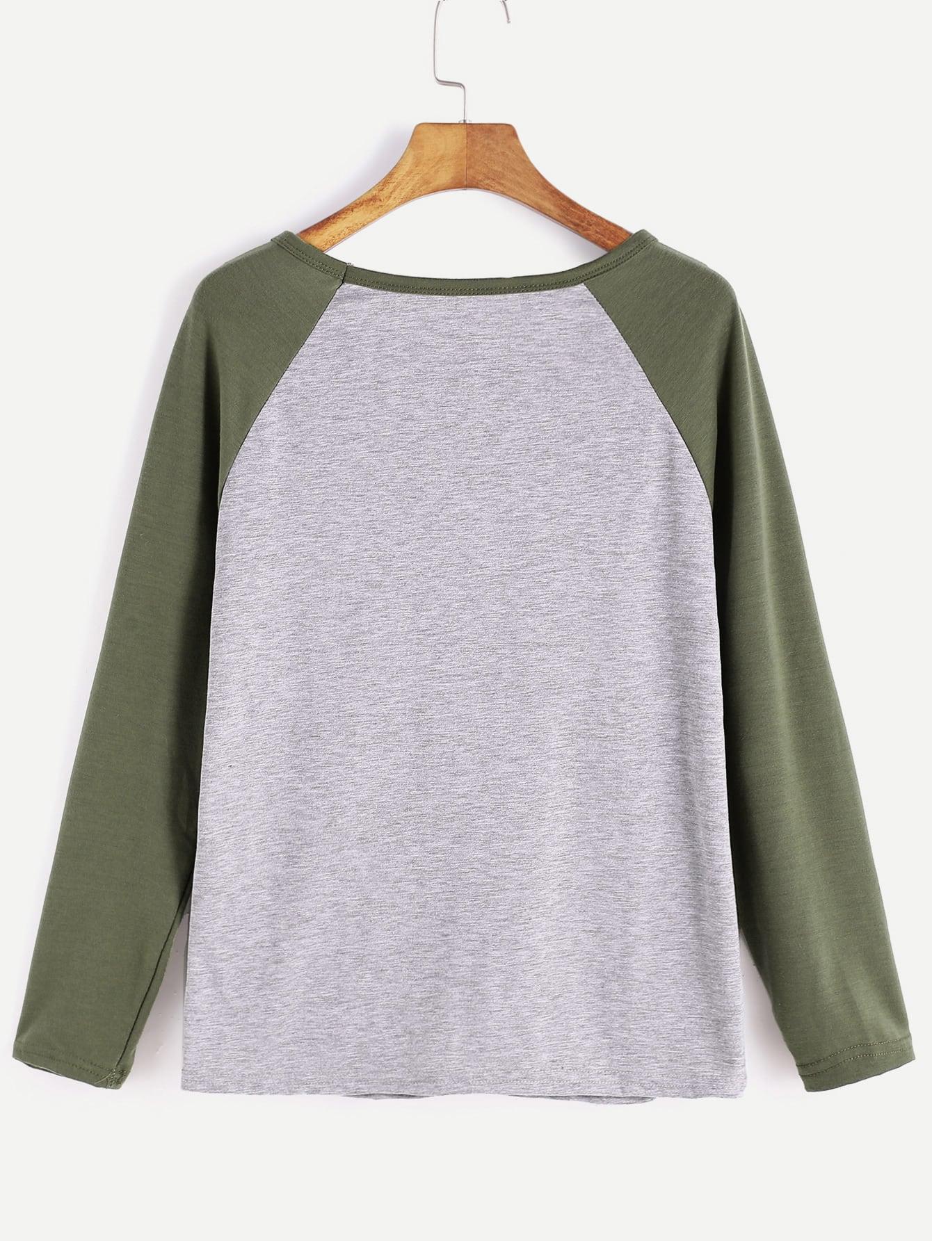Contrast Raglan Sleeve Letter Print T-Shirt
