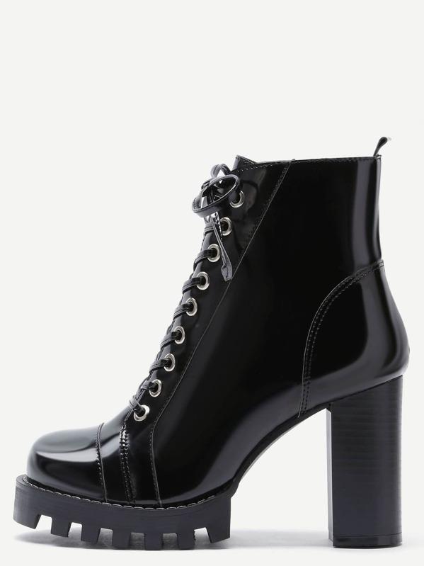 dea8f518170c Black Patent Leather Cap Toe Topstitch High Heel Boots