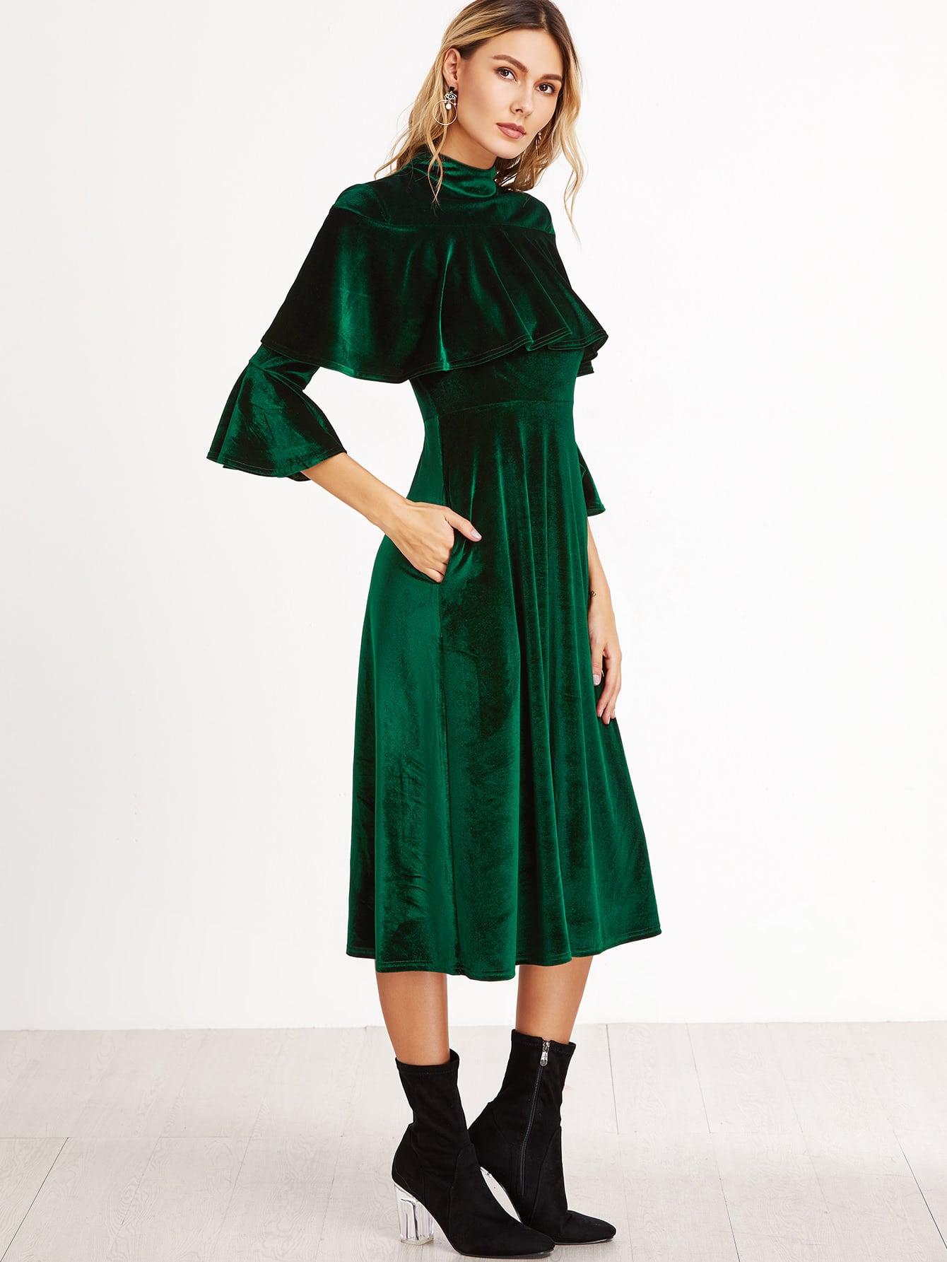 Green Ruffle Trim Bell Sleeve Velvet Midi Dress