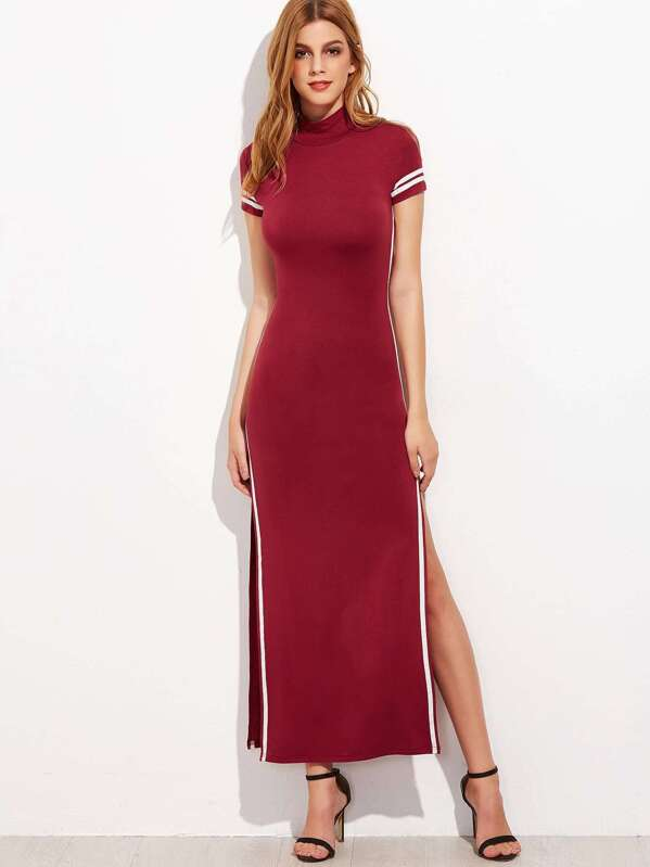 3af0cf0769 Striped Trim Cut Out Back High Split Maxi Dress