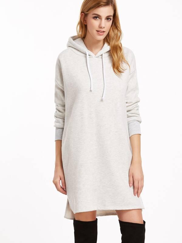 Sweatshirt Kleid mit Kapuzen Schlitz Seitlich Vorne Kurz Hinten Lang-hell  grau. model size 06daf867e6