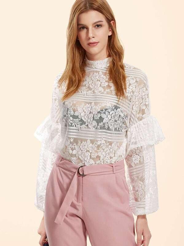 60d983b6c7fd5 High Neck Frill Trim Floral Lace Top