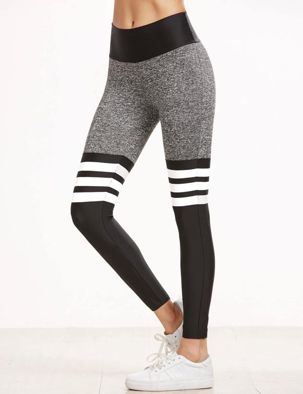 Leggings de sport à rayures taille élastique -color-block-French  SheIn(Sheinside)