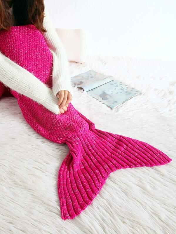 Manta de cola de sirena de tejido con textura - rosado-Spanish SheIn ...