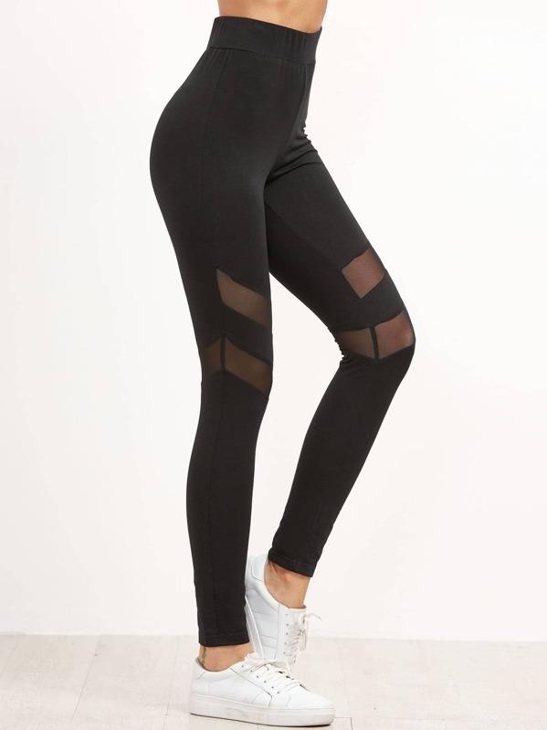 13e1c17aaecab High Waist Leggings With Mesh Panel Detail | SHEIN UK