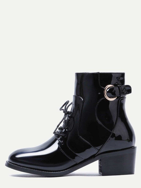 856c7d9d27717 Black Patent Leather Lace Up Ankle Buckled Booties | SHEIN UK
