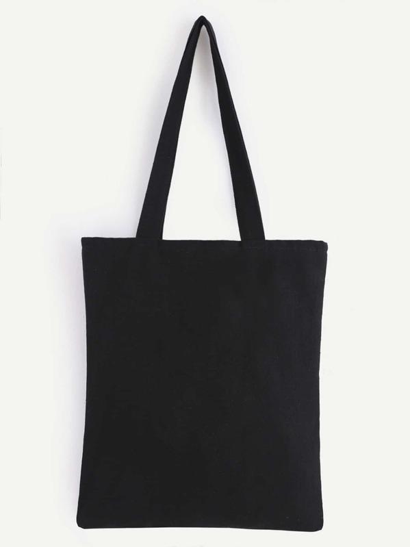 822f82f36d Double Layer Black Plain Canvas Tote Bag | SHEIN UK