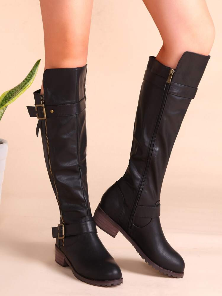 68be578f1f Black PU Buckled Strap Side Zipper Knee Boots | SHEIN