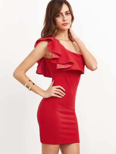 Red Ruffle One Shoulder Bodycon Dress -SheIn(Sheinside)