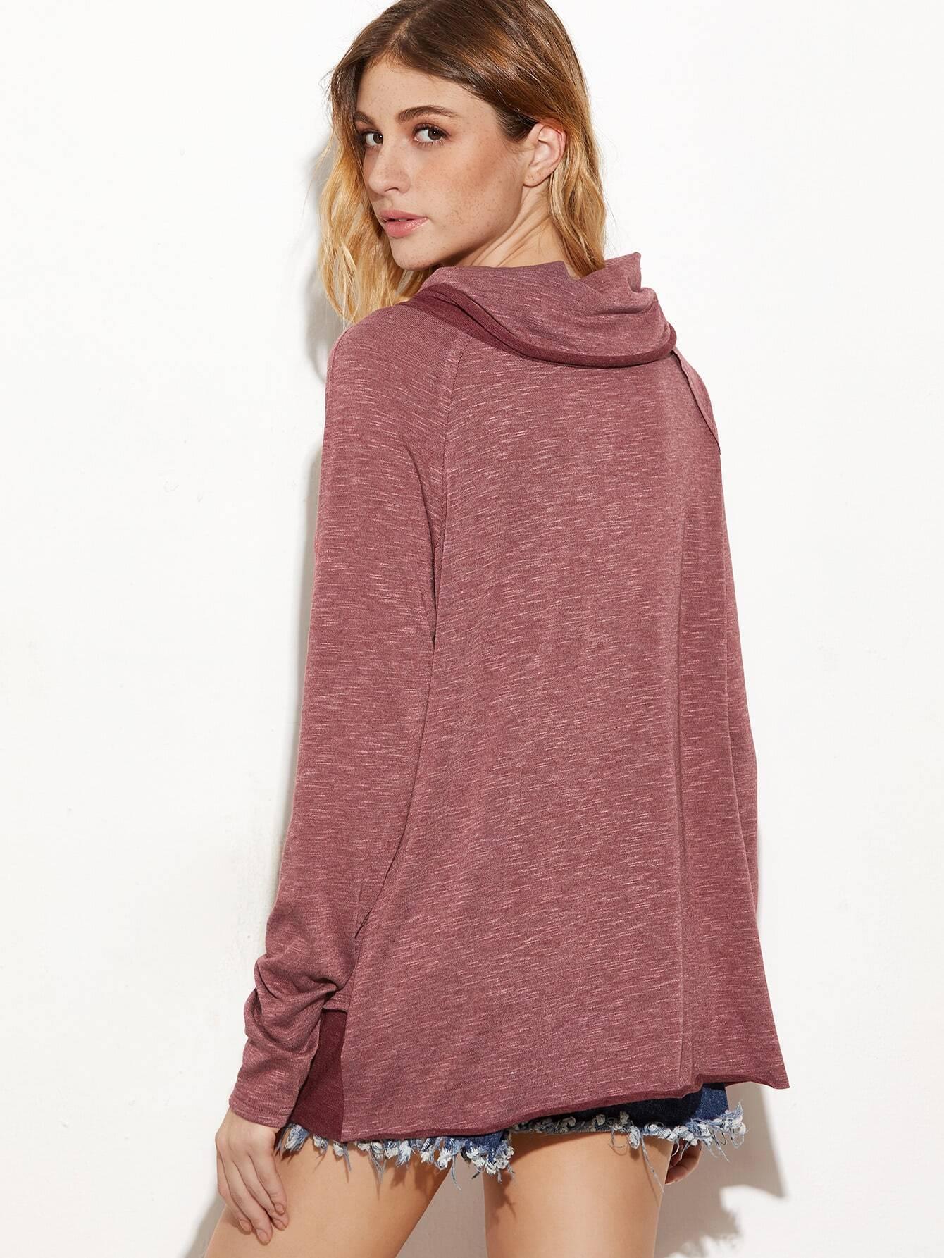 Burgundy Marled Cowl Neck Raglan Sleeve T-shirt
