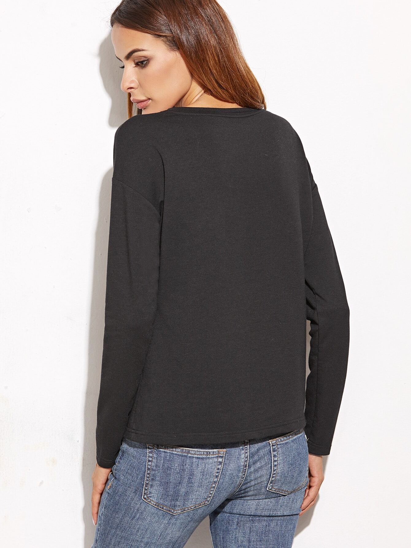 Black Drop Shoulder T-shirt With Patch Detail