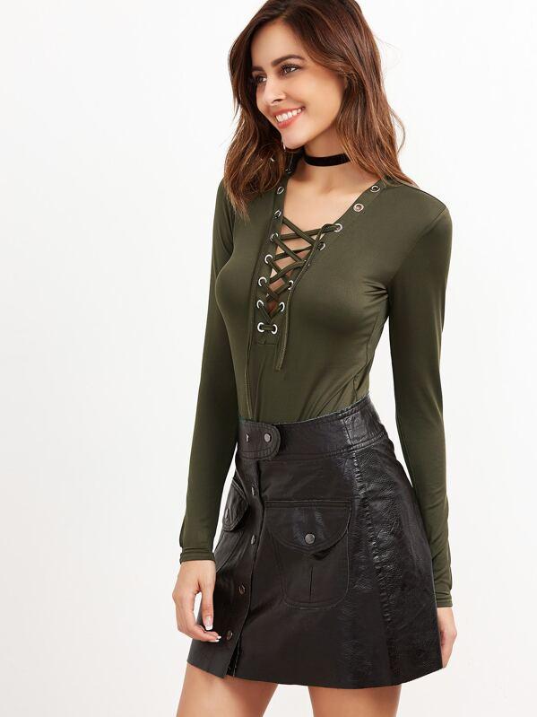 Army Green Deep V Neck Eyelet Lace Up Bodysuit -SheIn(Sheinside) 4751d91fe