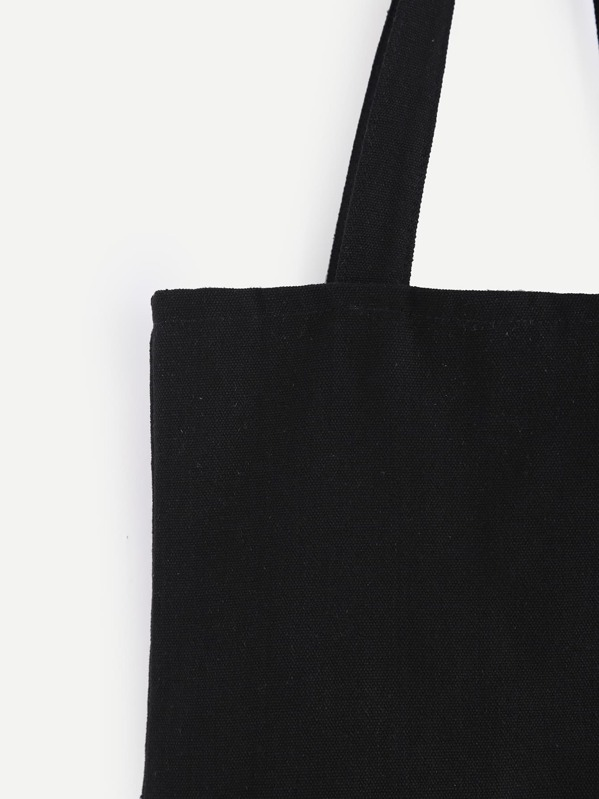 06e17850e6 Double Layer Black Plain Canvas Tote Bag | SHEIN IN