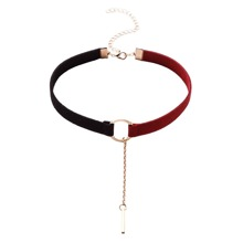 SHEIN | Black And Red Metal Ring Bar Pendant Choker Necklace | Goxip