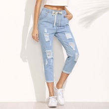 Distressed Drawstring Waist Cropped Jeans pants160718001