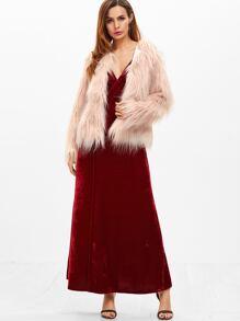 Cheap Burgundy Velvet Deep V Neck Backless Wrap Slip Dress for sale  Australia  d83b71491