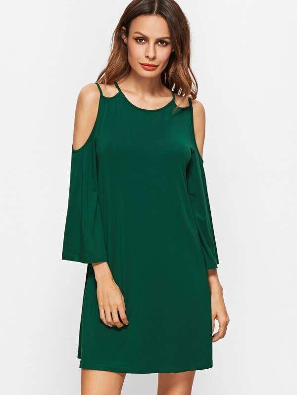 Vestido de manga acampanada y hombros al aire - verde-Spanish SheIn ...