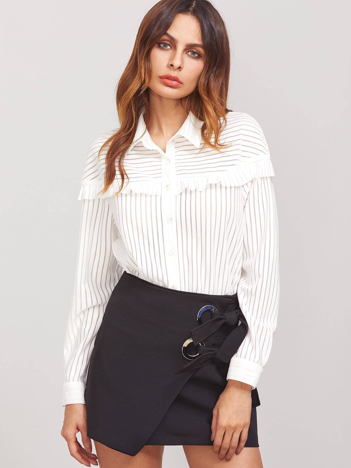 c69f952558603 Shoptagr | Frill Trim Button Up Striped Shirt by Shein