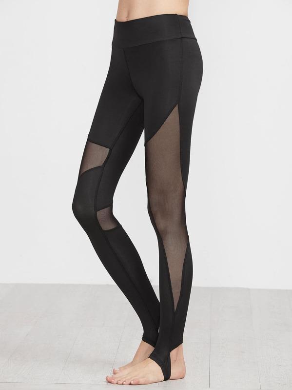 9a97197effd04 Black Contrast Sheer Mesh Stirrup Leggings   SHEIN UK