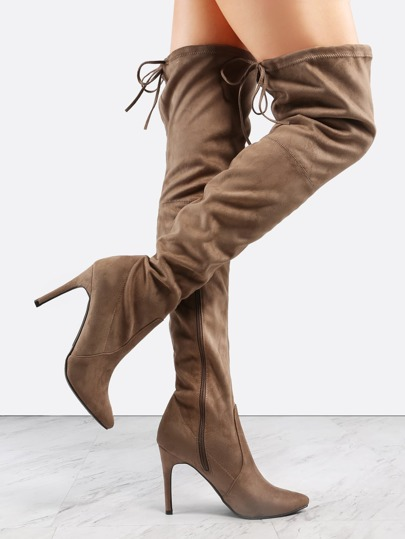 Pointy Toe Stiletto Thigh Boots TAUPE