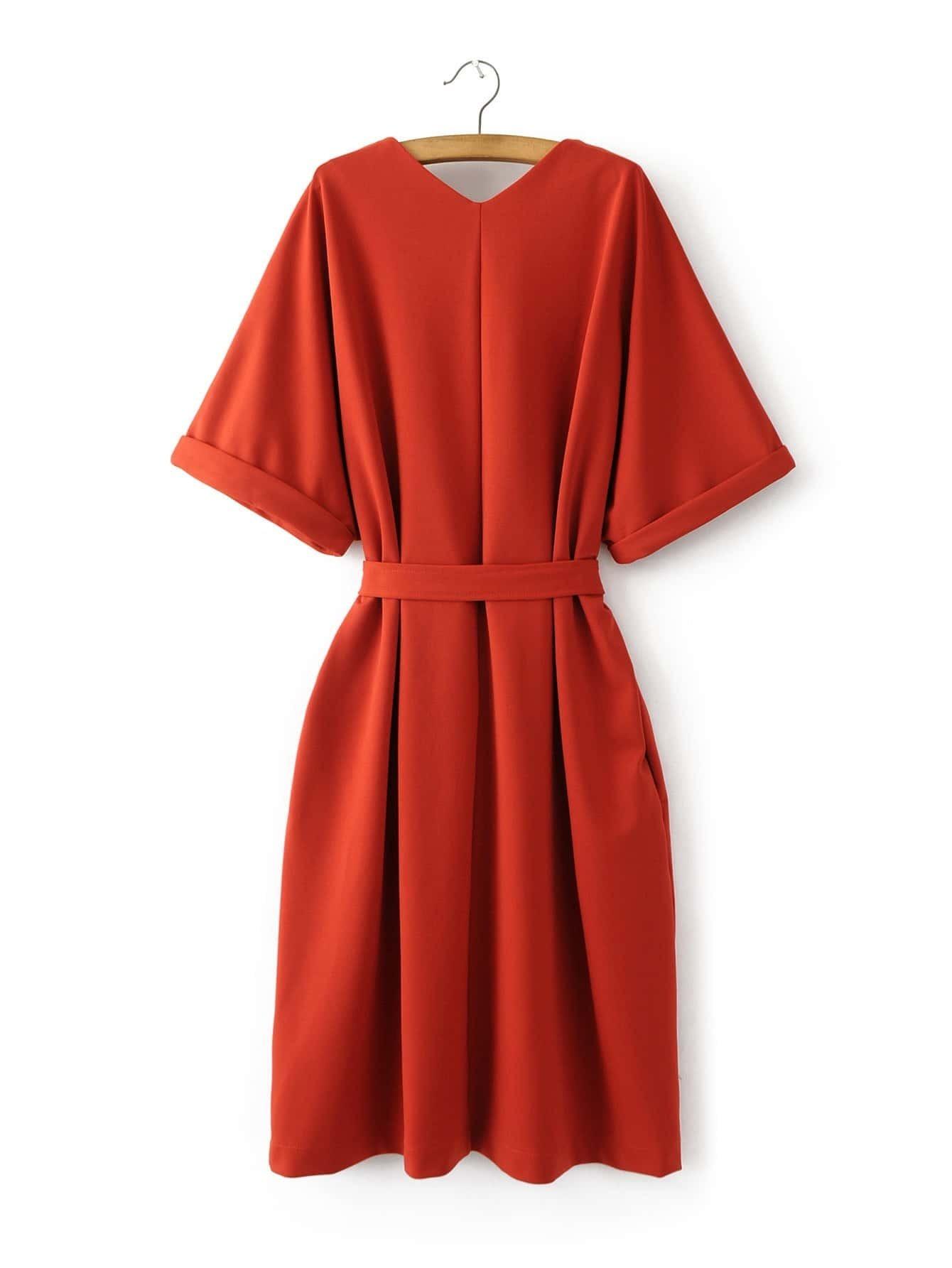 Orange V Neck Loose Kimono Dress -SheIn(Sheinside)