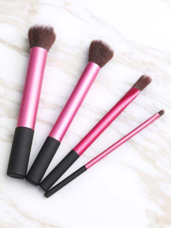 ac8a2eaa8d Black And Pink Makeup Brush Set 4PCS | SHEIN UK