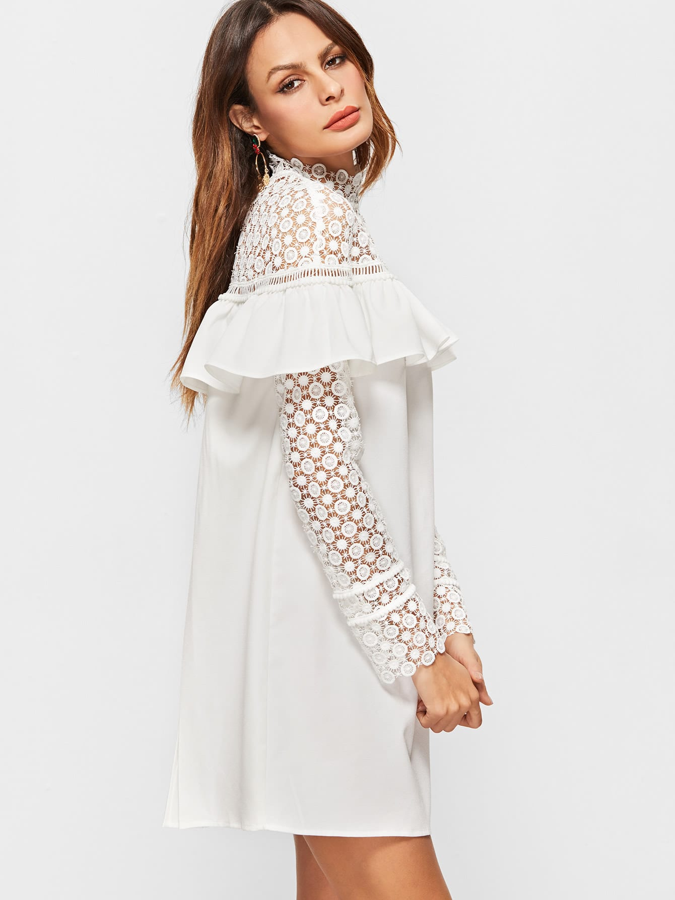 White Sheer Embroidered Lace Shoulder And Sleeve Ruffle Dress ...
