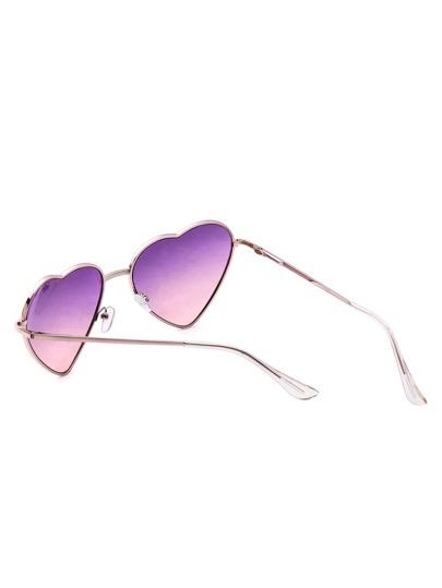 Gold Frame Heart Shaped Sunglasses : Rose Gold Frame Heart Shaped Purple Lens Sunglasses -SheIn ...