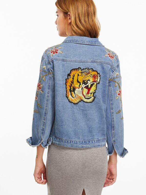 la moitié 2c737 2572a Veste en jean brodé tigre au dos à seul boutonnage -bleu