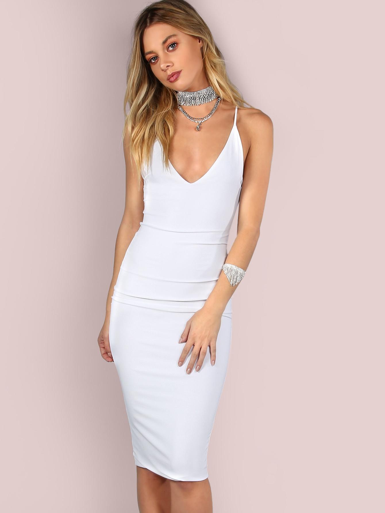 Sleek Cami Bodycon Midi Dress Ivory Shein Sheinside