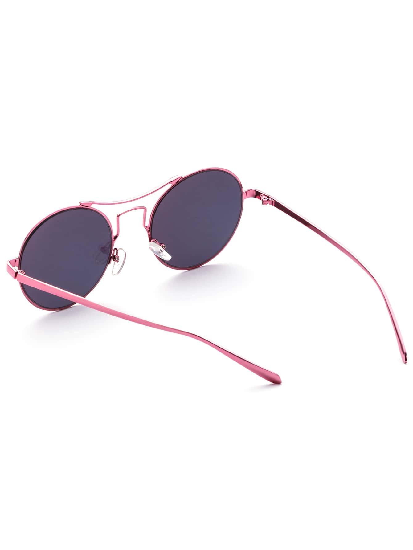 6d54eb3f26 Rose Gold Frame Tinted Lens Round Retro Sunglasses -SheIn(Sheinside)