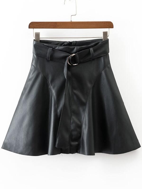 40b5a47935 Black A Line PU Skirt With Belt -SHEIN(SHEINSIDE)