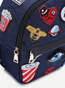 b14e709b81 Dark Blue Zip Front Cartoon Patch Mini Backpack -SheIn(Sheinside)