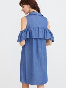 170423489c1c01 Blue Open Shoulder Ruffle Trim Chambray Shirt Dress -SheIn(Sheinside)