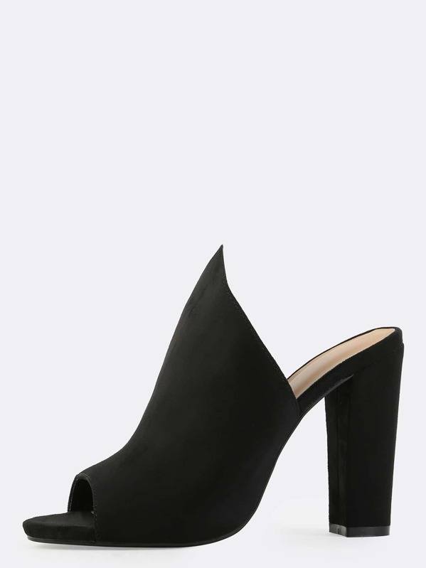 64910173047 Pointed Top Mule Heels BLACK