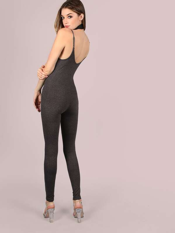 1b86b43c38cb Heather Grey Double Scoop Neck Skinny Cami Jumpsuit
