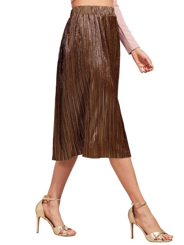 4763c9206a Brown Loose Midi Skirt | SHEIN