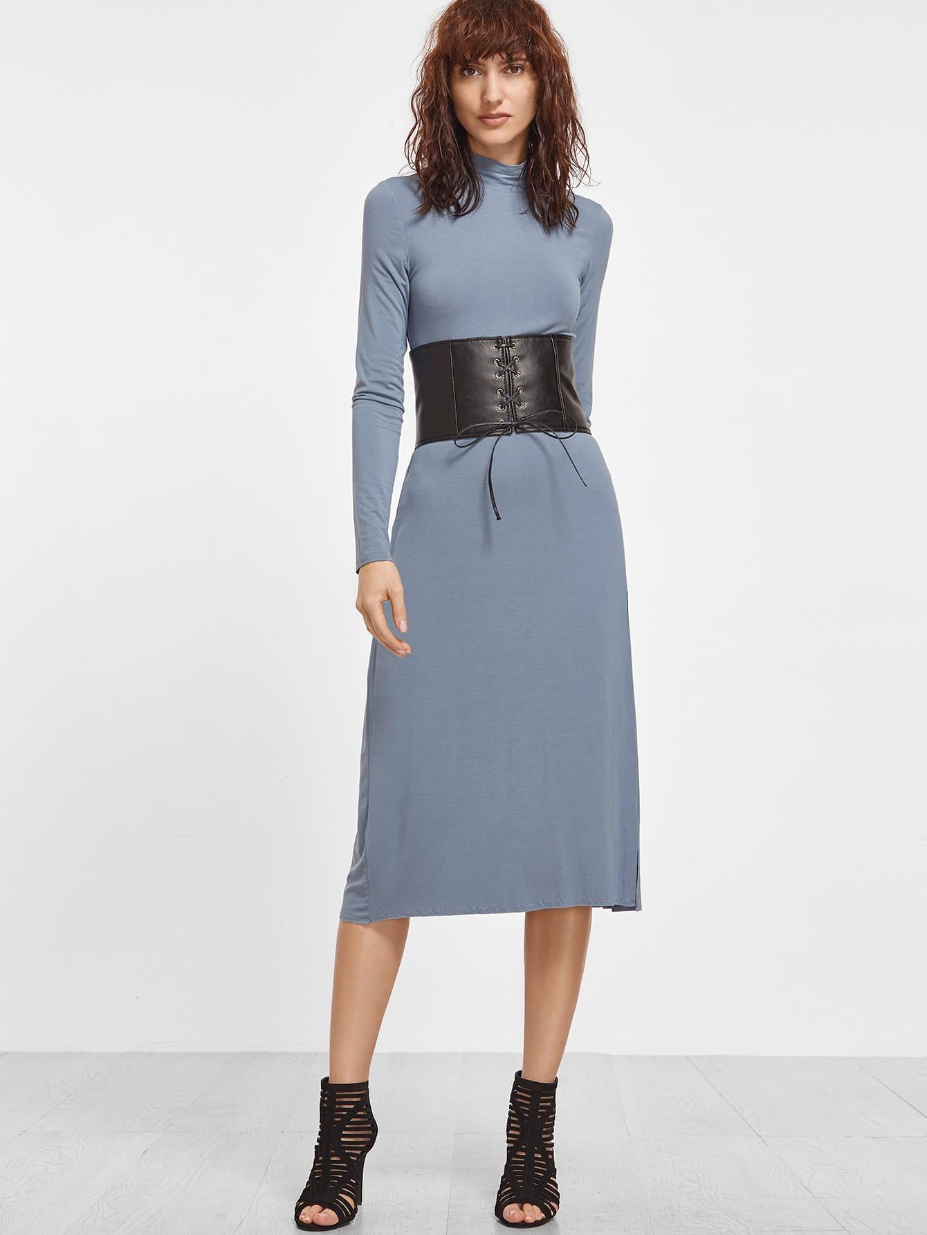 Midi Kleid mit hohem Kragen Langarm -blau   SHEIN