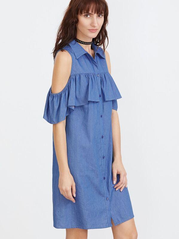 714f914e6dcb Blue Open Shoulder Ruffle Trim Chambray Shirt Dress -SheIn(Sheinside)