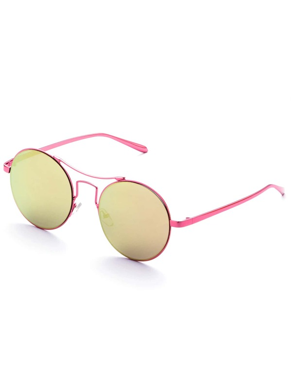 8b3646fd31 Rose Gold Frame Tinted Lens Round Retro Sunglasses   SHEIN IN
